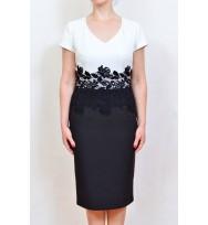 Rochie-alb cu negru 4025 A