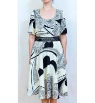 Rochie crem cu negru-4031